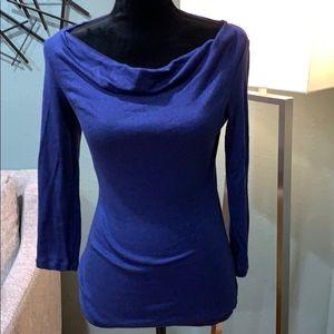 INC used blue long sleeve blouse, size large